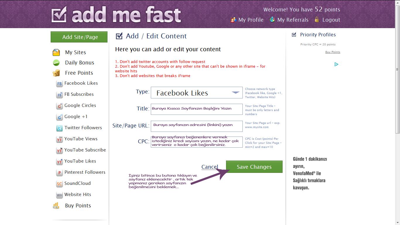 Addmefast Sayfa Ekleme
